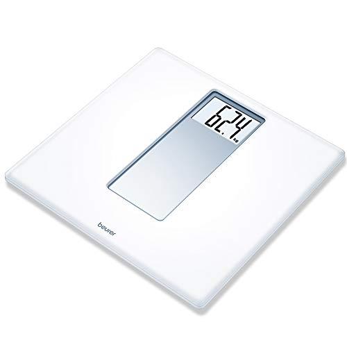 Beurer PS160 - Báscula de baño, báscula con pantalla LCD dígitos grandes de 4.7 cm, capacidad 180 KG, diseño retro en color blanco