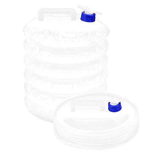 Qioniky Bolsa de Agua Plegable para Exteriores, Cubo Plegable portátil, Cubo Plegable, ahorre Espacio, Plegable, Blanco, 2 Piezas, 15 l, para Acampar, Senderismo, al Aire Libre
