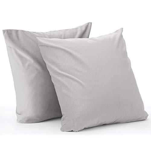 mDesign Juego de 2 fundas de cojín – Forro para cojines de poliéster con aspecto de terciopelo – Suaves fundas decorativas para cojines de sofá sin relleno – gris