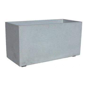 AnaParra Jardinera Rectangular Moderna en hormigón aligerado para Exterior Rectangular Pacífico 80X17X19cm. Natural Cemento