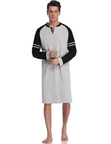 Aibrou Camison Sexy Hombre Algodon Pijama Casual Manga Corto y Largo Ropa de Dormir Casa Cómodo y Transpirable