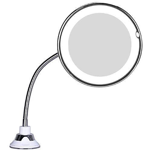 Dasing Led 10X Vergr??Erungs Make-Up Spiegel Beleuchteter Kosmetik Rund Spiegel mit 360 Grad Drehdrehung, Flexibel