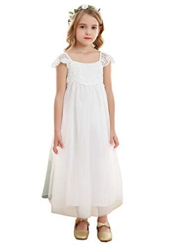 Bow Dream Spitze Mädchenkleid aus Vintage weiß Tulle 10 Jahre