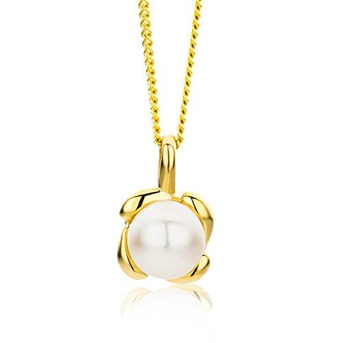 Miore Kette - Halskette Damen Kette Gelbgold 9 Karat / 375 Gold Süßwasserperle 45 cm