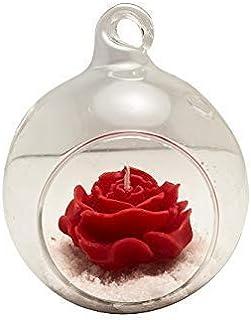 Rosa profumata con supporto in vetro Candela RUBY