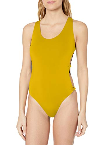 Red Carter Women's Summer Reversible Solid Open-Side One Piece Swimsuit, Mustard/Indian Pink, XS