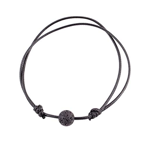 lu Interessante Matte Lava Steen Natuurlijke Steen Kraal Armband Zwarte String voor Mannen Vrouwen