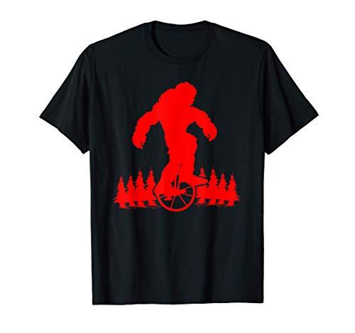Bigfoot On Unicycle Bike   Cute Unicyclist Yeti Funny Gift T-Shirt
