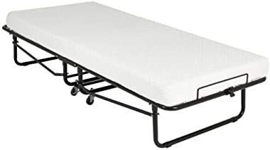 """Asaren Folding Guest Bed Portable Rollaway Bed with 4"""" Foam Mattress Featuring a Super Strong Sturdy Frame for Spare Bedroom"""