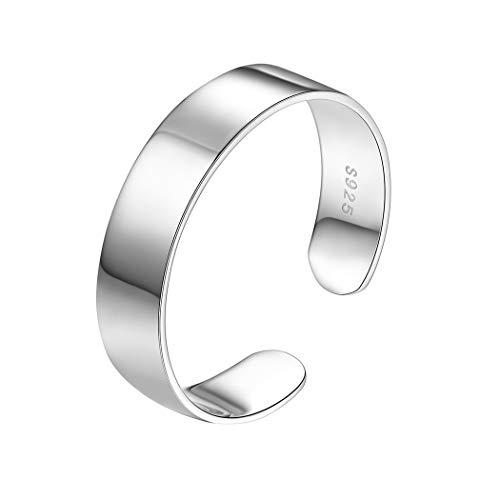 PROSILVER Damen Herren Ring - 925 Sterling Silber Offener Ring 5mm breit hochglanzpoliert Band Ring verstellbar Schmuck Accessoire für Jahrestag Geburtstag