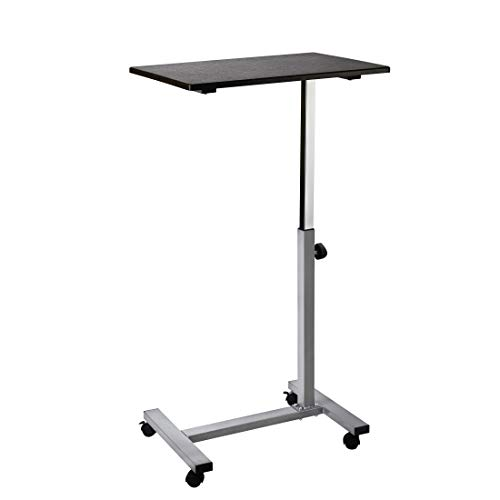 Seville Classics Solid-Top Height Adjustable Mobile Laptop Computer Desk Cart Ergonomic Home Office Stand Rolling Table, Overbed (23.6'), Black
