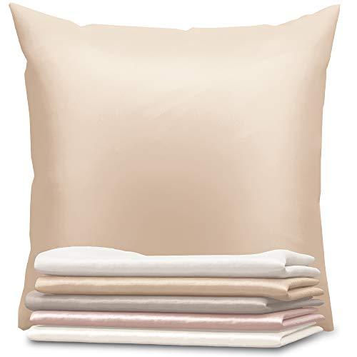 Dreamzie - Seidenkissenbezug 80 x 80 cm - 100% Maulbeerseide 19 Momme Doppelseitig Oeko-TEX® - Silk Pillowcase für Haar und Haut - Anti-Aging, Anti-Bettwanzen - Braungrau