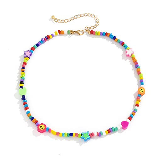 Boho Smiley Layered Beaded Necklaces with Strand Bracelet, Smile Face Star Fruits Flowers Heart Shape Beads Pearl Stackable Collar Necklace Anklet for Women Girls Vsco Summer Beach Trip-beads