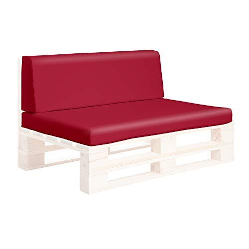 SUENOSZZZ-ESPECIALISTAS DEL DESCANSO Conjunto Asiento y Respaldo para Sofas de palets, Cojines Chill out Rellenos con Espuma y enfundados en Polipiel Color Rojo