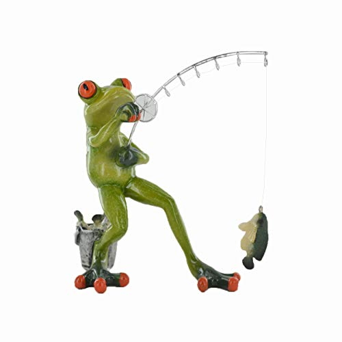 Prezents.com Comical Frogs - Fishing Small Resin Figurine Great For Home Gift