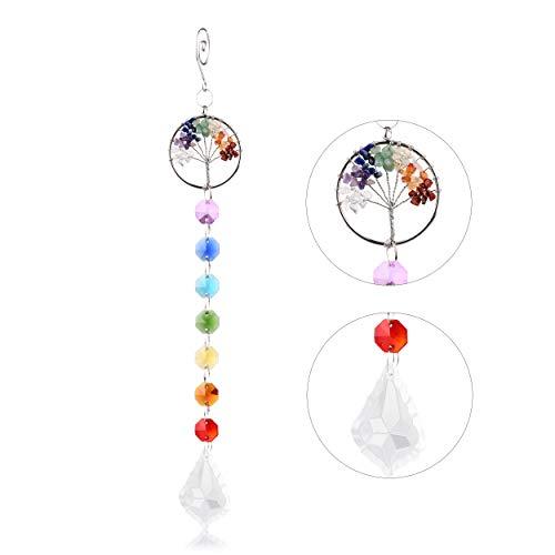 VAINECHAY Decoración Arcoíris Atrapasueños Colgante de Cristal Árbol de la Vida Diseño con Cadena de Color Hoja de Cristal Hecho a Mano Colgar en la Ventana para el Hogar Jardín Oficina Regalo