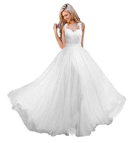 Andybridal A Line Spaghetti Straps Sweetheart Lace Chiffon Bridal Gowns Beach Wedding Dress Ivory 26 Plus