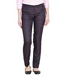 American-Elm Womens Blue Cotton Slim Fit Office Wear Trouser for Office Usage