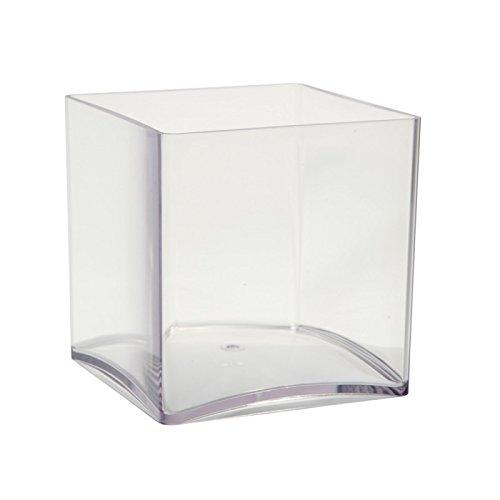 2x 10cm cubo de acrílico transparente. Resistente, ligero plástico recipiente pequeño 4