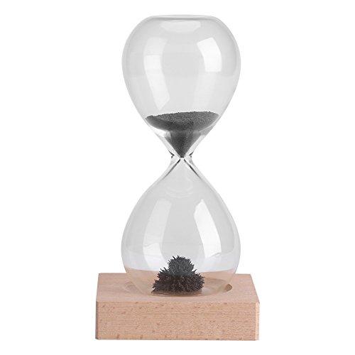 GLOGLOW Minuterie de Sable magnétique, Jouet de sablier Classique minuterie de Thé Artistique Accueil Décorations de Bureau Dispaly avec Base en Bois pour Le Temps Gestion