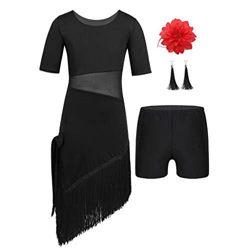 CHICTRY Kinder Mädchen Tanzkleid Latein Salsa Cha Cha Tanzkleidung Set: Flapper Kleid mit Quaste, und Shorts+Ohrringe+Haarspange Karneval Fasching Kostüm Schwarz 152-164