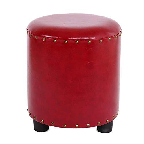 HSWYJJPFB Escabel PU Taburete De Cuero De Madera Maciza Sofá Taburete Redondo Bajo Pequeño Banco Creativo Casero Simple Banco De Zapatos Regalo de Edad Avanzada (Color : Red, Talla : 34X40cm)