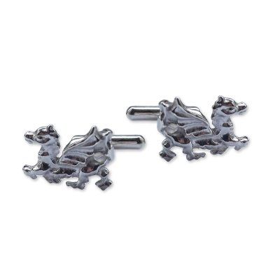 QUALITY UK Men's Dragon Boutons de manchette en argent fin de 20 x 10 mm