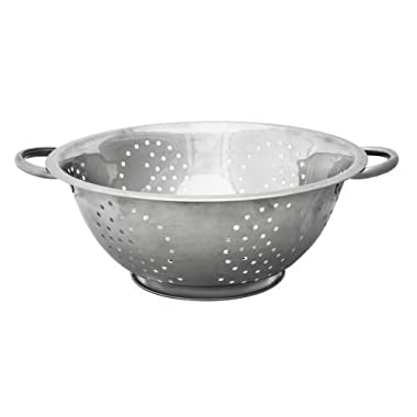 Home Basics Stainless Steel Deep Colander Strainer, Silver (5 Quart)