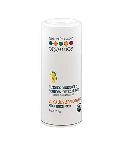Nature's Baby Organics Baby Powder Talc Free Dusting Powder With Aloe Soft Gentle 100% Organic Baby Powder Hypoallergenic Fragrance Free 4 oz