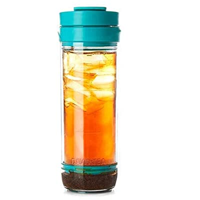 DAVIDsTEA Iced Tea Press Travel Mug for Loose Tea, BPA-Free Iced Tea Maker Teal Colour, 16 Ounces
