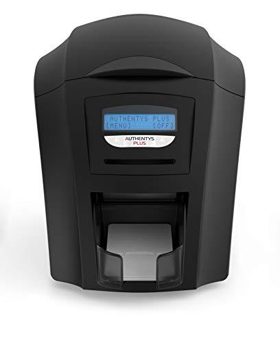 Authentys Plus Kaartenprinter voor plastic kaarten, plastic kaartenprinter voor pvc-kaarten, identiteitskaarten, dienstkaarten, met geïntegreerd keerstation, USB-aansluiting, netwerkaansluiting