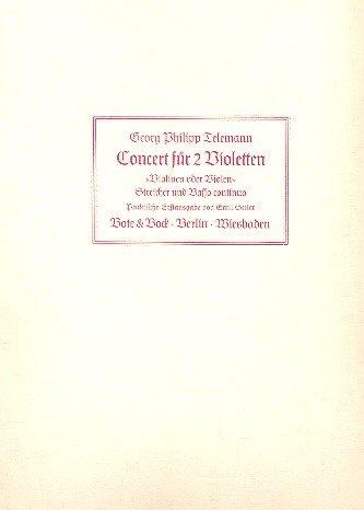 Konzert für 2 Violetten G-Dur: 2 Violinen (Violen), Streicher und Basso continuo. Klavierauszug mit Solostimmen.
