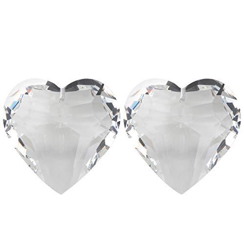Hemoton 2 Stück Kristall Sonnenfänger Transparent Herz 45mm Kristall Kronleuchter Anhänger Hängend Feng Shui Fensterdeko Fensterschmuck Raumpendel Kristall Lampe Dekoration