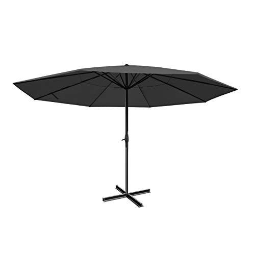 Sonnenschirm Meran Pro, Gastronomie Marktschirm ohne Volant Ø 5m Polyester/Alu 28kg - anthrazit ohne Ständer