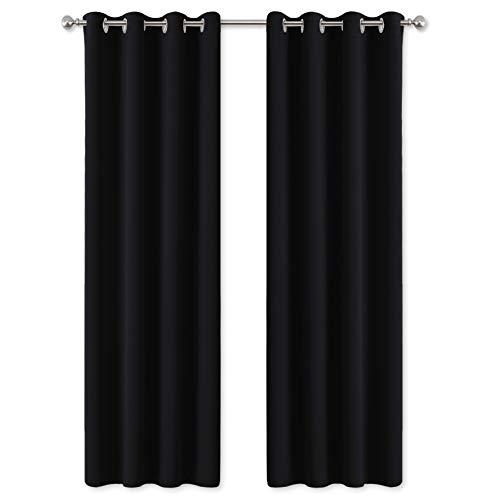 PONY DANCE Cortinas Opacas Modernas - Cortina Térmicas Aislantes para Cuarto de Estudio, 2 Piezas, 140 x 240 cm, Negro