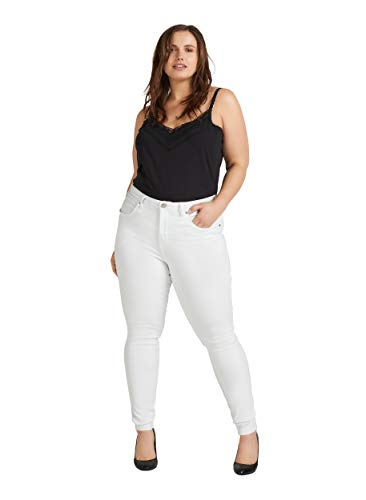 Zizzi Amy Damen Jeans Super Slim Jeanshose Stretch Hose Große Größen -Weiß-44 / 78 cm