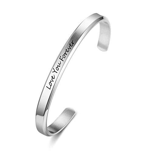 Grand Made Braccialetto inciso nome Braccialetto gioielli donna Bracciale acciaio inossidabile personalizzato con incisione desideri Regalo compleanno Gioielli donna (Argento, 3mm di larghezza)