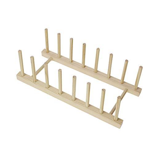 Estante de drenaje de estante de plato de madera de bambú multifuncional, soporte de estante de secado de tablero de 7 particiones, utilizado para almacenamiento de cocina, 12.20 * 5.12 * 3.54in