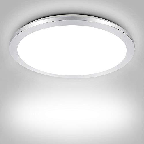 PADMA LED Ceiling Light for Bathroom 18W Flush Ceiling Light Fitting Chrome Cover Modern Ultra Slim Panel Ceiling Lights, Daylight, IP44 Waterproof for Bedroom, Hallway, Kitchen, Living Room