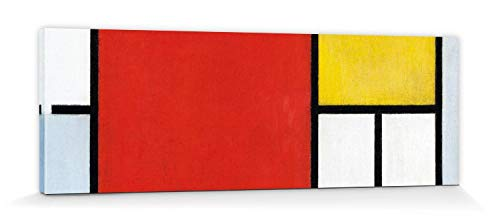 1art1 Piet Mondrian - Komposition Mit Großer Roter Fläche, 1921 Bilder Leinwand-Bild Auf Keilrahmen | XXL-Wandbild Poster Kunstdruck Als Leinwandbild 150 x 50 cm