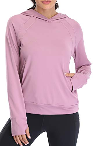Oalka Women's Performance Running Hoodie Lightweight Biker Pullover Sweatshirt Lavender Mist XL