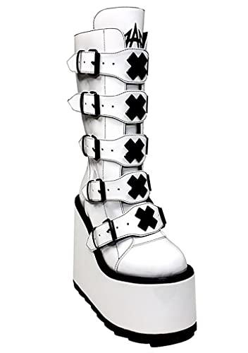 YRU Dune X Storm TT Platform Boots - White/Black - Rave, Goth, EDM, Festival (numeric_7)