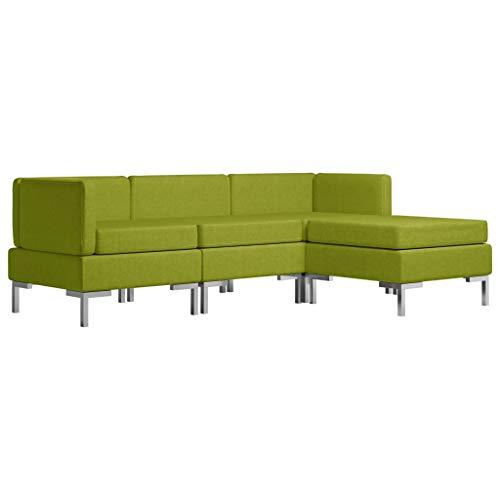 Tidyard Sofás de salón Sofá Cama Modular 3# Juego de sofás 4 Piezas Tela Verde