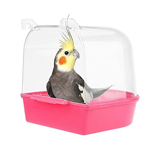 Jodsen Vogel Badewanne,hängende Badewanne Vogelkäfigzubehör mit Haken,Wasserdusche Transparente Box Futterautomaten Halter für kleine Vögel,Kanarienvögel,Wellensittiche,Papagei 13 * 14 * 13cm (rot)