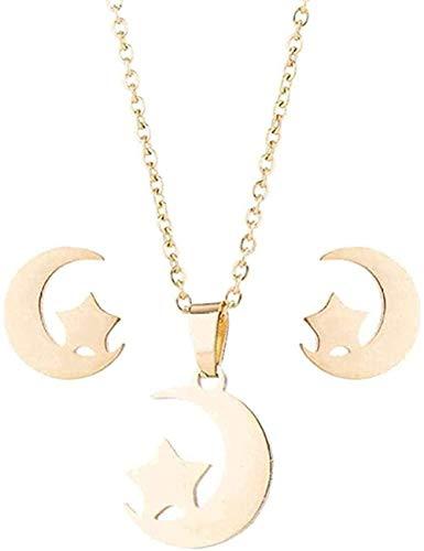 ZJJLWL Co.,ltd Collar Mujer Collar Mujer Navidad Conjunto de Joyas Collar Pendientes Geométrico Luna Estrella Colgantes Conjuntos de Joyas de Acero Inoxidable Pendientes Conjunto de Collar