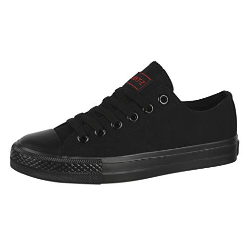 Elara Unisex Sneaker Low top Turnschuh Textil Chunkyrayan 36-46 01-A-Black-41