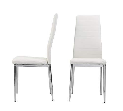 EHome Design - Silla de comedor de piel sintética con respaldo alto y patas cromadas, asiento cómodo y respaldo tapizados para cocina comedor - blanco - 2 unids/set