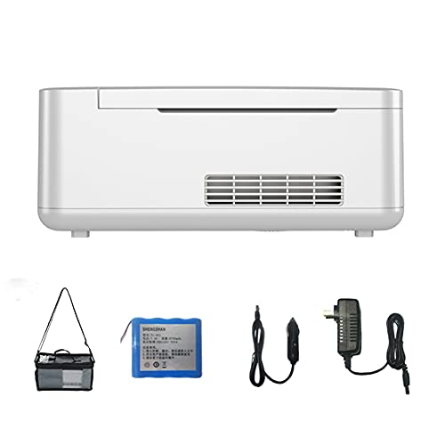 WUQIAO Enfriador de insulina portátil de 10 * 4,4 * 4,1 Pulgadas, Caja refrigerada, Pantalla Digital HD, Ventilador silencioso, Sistema de Alarma Inteligente,Blanco