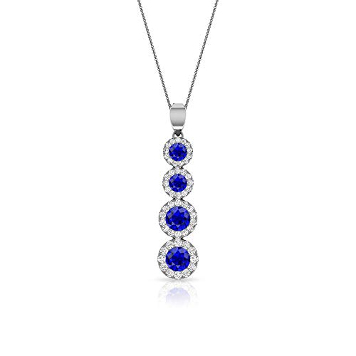 Colgante de halo de moissanita de 1,30 quilates con zafiro difuso certificado IDCL, colgante de gota de piedra preciosa azul, collar largo de cadena, 18K Oro blanco Sin cadena