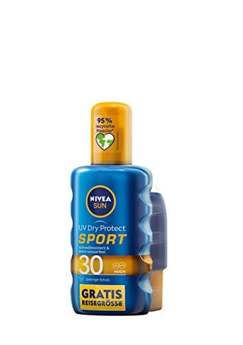 NIVEA SUN UV Dry Protect Sport Sonnenspray LSF 30 + gratis Reisegröße (200 ml + 50 ml), 100% transparenter Sonnenschutz, schweißresistente & extra wasserfeste Sonnencreme